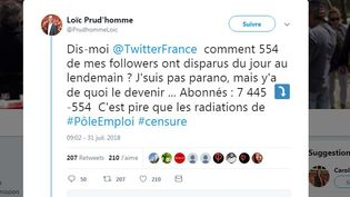 Capture d'écran du compte Twitter de Loïc Prud'homme, député La France insoumise de Gironde, le 31 juillet 2018. (TWITTER / FRANCEINFO)