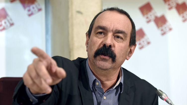 Philippe Martinez, secrétaire général de la CGT, face à la presse, le4 février 2015, à Montreuil (Seine-Saint-Denis). (ERIC FEFERBERG / AFP)
