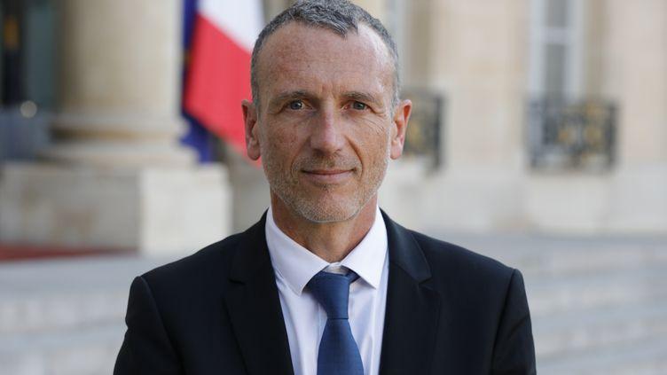 Emmanuel Faber, PDG de Danone, devant l'Élysée le 23 août 2019. (GEOFFROY VAN DER HASSELT / AFP)