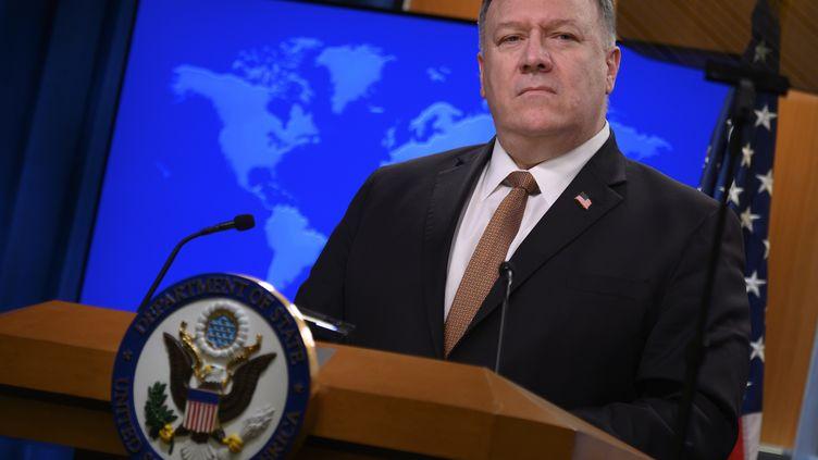 Le secrétaire d'EtatMike Pompeo, le 25 mars 2020, àWashington. (ANDREW CABALLERO-REYNOLDS / AFP)
