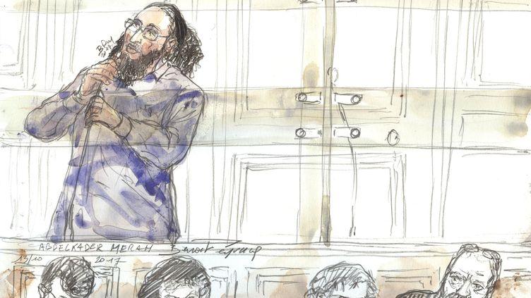 Abdelkader Merah lors de son procèsdevant la cour d'assises spéciale de Paris, le13 octobre 2017. (BENOIT PEYRUCQ / AFP)