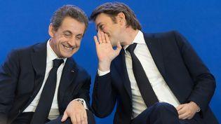 Nicolas Sarkozy et François Baroin au siège des Républicains, le 1er juin 2016 à Paris. (WITT / SIPA)