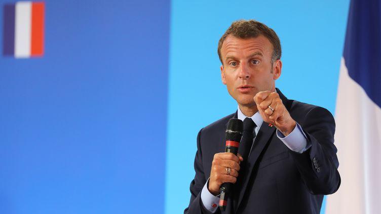 Le président de la République Emmanuel Macron, le 22 mai 2018 à Paris. (LUDOVIC MARIN / POOL)