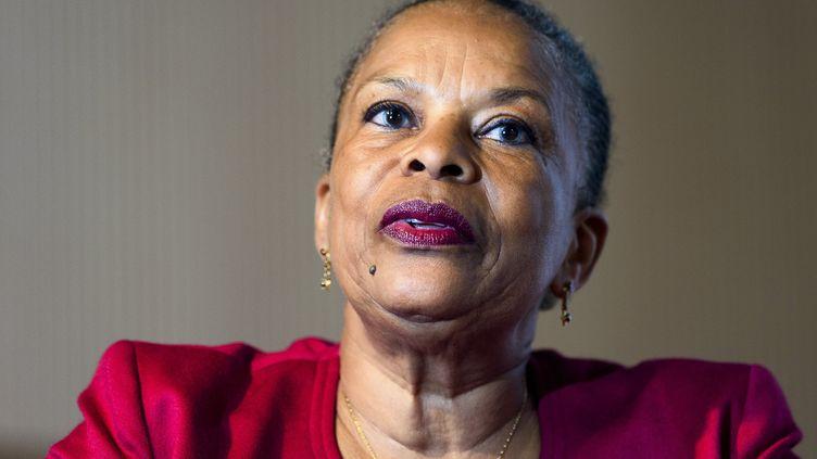 """Christiane Taubira, ancienne ministre de la Justice (de mai 2012 à janvier 2016). Ici le 26 avril 2018 lors de la présentation de son livre """"Nous habitons tous la terre"""". (JEAN-MARC QUINET / BELGA MAG / AFP)"""