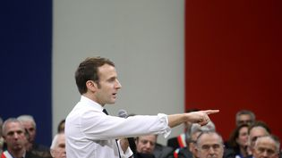 Emmanuel Macron, le 18 janvier 2019 à Souillac (Lot), dans le cadre du grand débat national. (LUDOVIC MARIN / AFP)