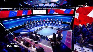 Douze candidats ont participé au premier grand débat des élections européennes, le 4 avril 2019 sur France 2. (FRANCE 2)