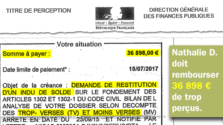 Nathalie D. ne peut pas payer les 36898euros réclamés par l'État. (RADIO FRANCE)