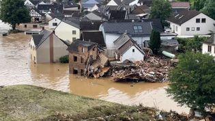 Des maisons détruites dans la région deRhineland-Palatinate (Allemagne), le 15 juillet 2021. (TV7 / AFP)