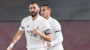 Benzema auteur de l'ouverture du score face au Barça (JAVIER SORIANO / AFP)