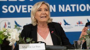 La présidente du Rassemblement national Marine Le Pen, à Tallinn (Estonie), le 14 mai 2019. (RAIGO PAJULA / AFP)