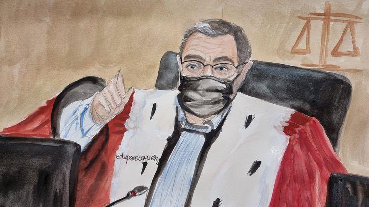 Le président de la cour d'assises spéciale de Paris, Jean-Louis Périès, au deuxième jour du procès du 13 novembre 2015, le 9 septembre 2021. (ELISABETH DE POURQUERY / FRANCEINFO)