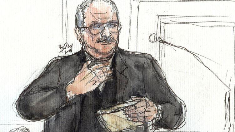 Un dessin deIlich Ramirez Sanchez, dit Carlos, lors de son procès à Paris, le 5 mars 2018. (BENOIT PEYRUCQ / AFP)