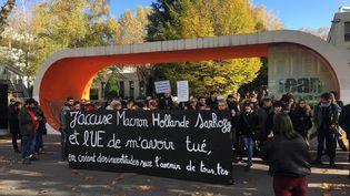 Une centaine de personne a participé à un hommage à Anas, à Saint-Étienne d'où l'étudiant était originaire. (MARGAUX CAROFF / FRANCE BLEU SAINT ETIENNE LOIRE)