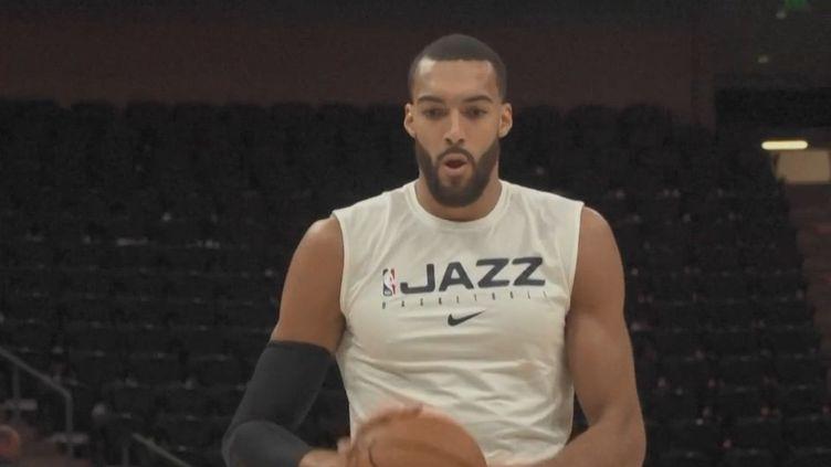 Le basketteur français Rudy Gobert à l'entraînement avec son équipe des Utah Jazz. (AFP)