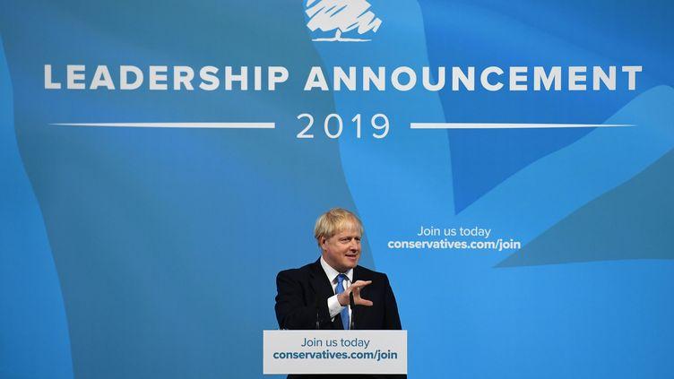 Boris Johnson lors du discours qui a suivi l'annonce de sa victoire à l'élection du nouveau chef du Parti conservateur, le 23 juillet 2019 à Londres (BEN STANSALL / AFP)