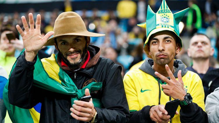 Des supporters du Brésil dans l'attente de la qualification de leur équipe nationale pour le Mondial 2018, le 31 août 2017. (MAXPPP)