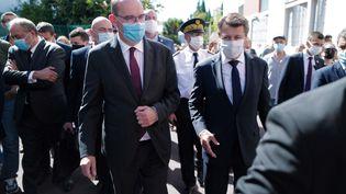 Le Premier ministre Jean Castex en déplacementdans le quartier des Moulins, à Nice, le 25 juillet 2020. (YANN COASTSALIOU / AFP)