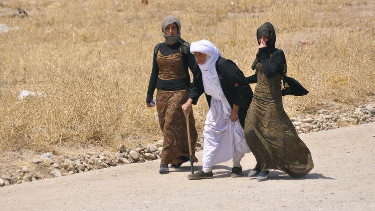 Des membres de la communauté yézidie fuient les combats près de Mossoul (Irak), le 5 août 2014. ( REUTERS )