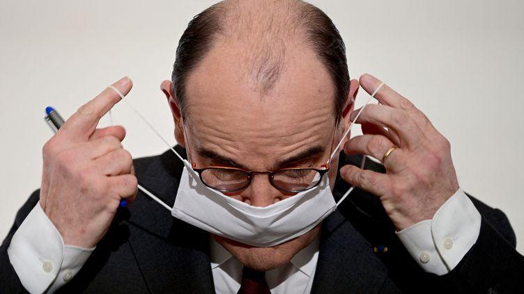 Le Premier ministre Jean Castex, le 18 mars 2021 à Paris. (MARTIN BUREAU / POOL / AFP)
