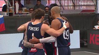 L'équipe de France de basket 3x3 lors de son premier match du tournoi qualificatif olympique face à la Slovénie, le 26 mai 2021, à Graz (Autriche). (DR)