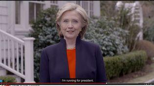 Capture d'écran de la vidéo où Hillary Clinton annonce sa candidature à la présidentielle américaine, le 12 avril 2015. ( AP / SIPA )
