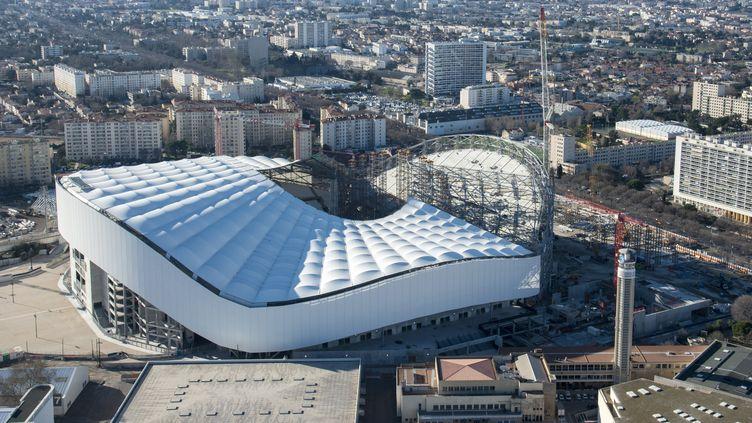 Vue aérienne du stade Vélodrome en mars 2014, toujours en travaux (CYRIL BECQUART / ONLY FRANCE)