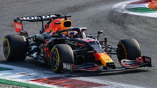 Max Verstappen (Red Bull) lors de la course sprint du Grand Prix d'Italie, à Monza, samedi 11 septembre. (MIGUEL MEDINA / AFP)