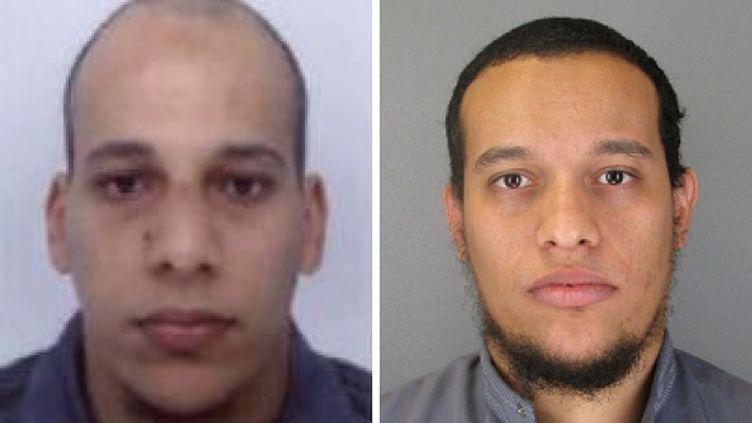 """Les deux auteurs de l'attentat contre """"Charlie Hebdo"""",Chérif (à gauche) et Saïd Kouachi (à droite), sur des photos publiées le 8 janvier 2015. (POLICE FRANCAISE / AFP)"""