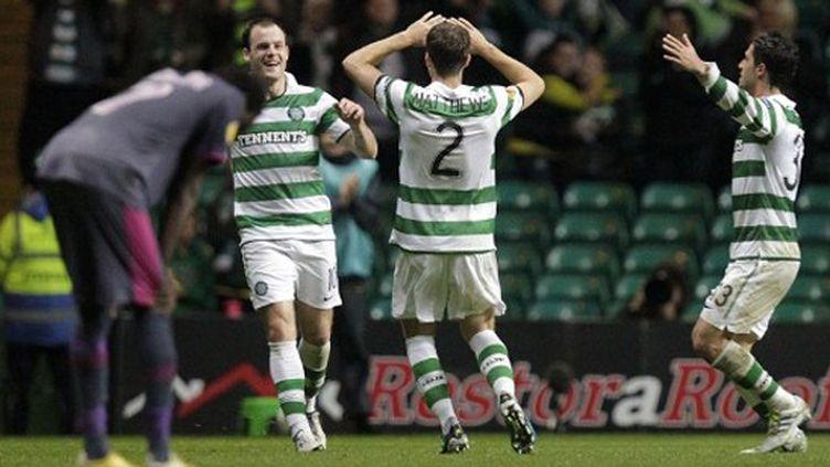 La joie du Celtic Glasgow contre Rennes en Ligue Europa (GRAHAM STUART / AFP)