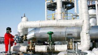 Un ouvrier chinois sur le site d'extraction de gaz de Klameli, au nord-ouest de la Chine. Ce champ de gaz naturel se situe dans le bassin de Junggar, au Xinjiang. (AFP/DING YU XJ)