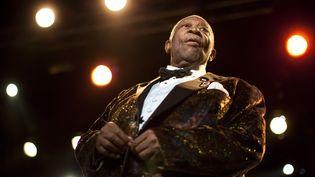 La légende du blues B.B. King lors du 45e festival de jazz de Montreux (Suisse), le 2 juillet 2011. (VALENTIN FLAURAUD / REUTERS)