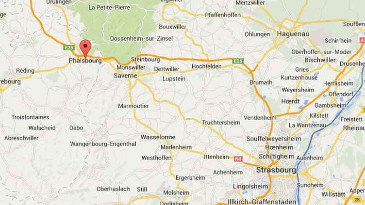 Capture d'écran Google Maps de Phalsboug où ont été retrouvés Miah et sa famille, le 19 avril 2014. ( GOOGLE MAPS / FRANCETV INFO )