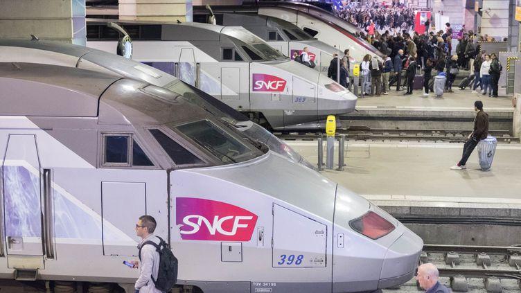 Des TGV à quai dans la gare Montparnasse, à Paris, le 22 octobre 2018. (ESTELLE RUIZ / NURPHOTO)