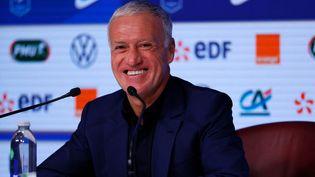 Didier Deschamps a rappelé Karim Benzema en équipe de France pour l'Euro 2021, mardi 18 mai. (THOMAS SAMSON / AFP)