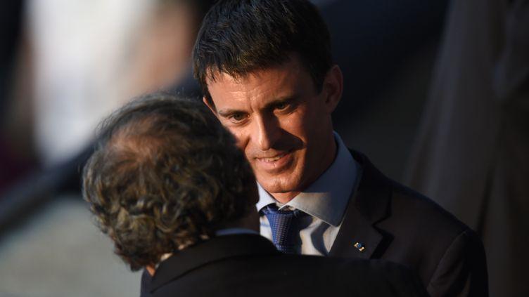 Le Premier ministre, Manuel Valls, le 6 juin 2015 au Stade olympique de Berlin, en compagnie de Michel Platini. (ODD ANDERSEN / AFP)