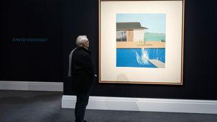 """The Splash"" de David Hockney, exposé chez Sotheby's avant la vente d'art contemporain (7 février 2020) (WILL OLIVER / EPA / NEWSCOM / MAXPPP)"