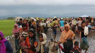 Des musulmans de la minoritéRohingya de Birmanie qui ont fui leur pays, le 1er septembre 2017, àCox's Bazar auBenladesh. (ZAKIR HOSSAIN CHOWDHURY / ANADOLU AGENCY / AFP)