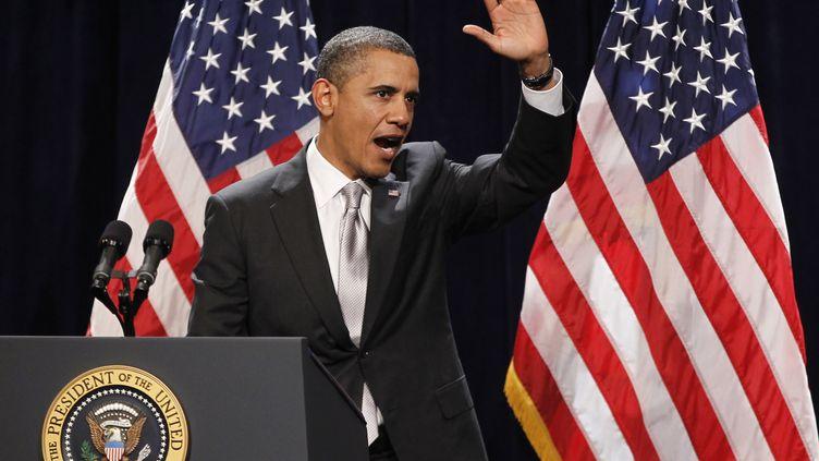 Barack Obama lors d'un meeting à Cambridge, dans le Maryland (Etats-Unis),le 27 janvier 2012. (REUTERS)