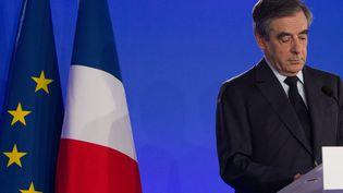 François Fillonprononce un discours après son élimination du premier tour de l'élection présidentielle, le 23 avril 2017, à Paris. (IRINA KALASHNIKOVA / SPUTNIK / AFP)