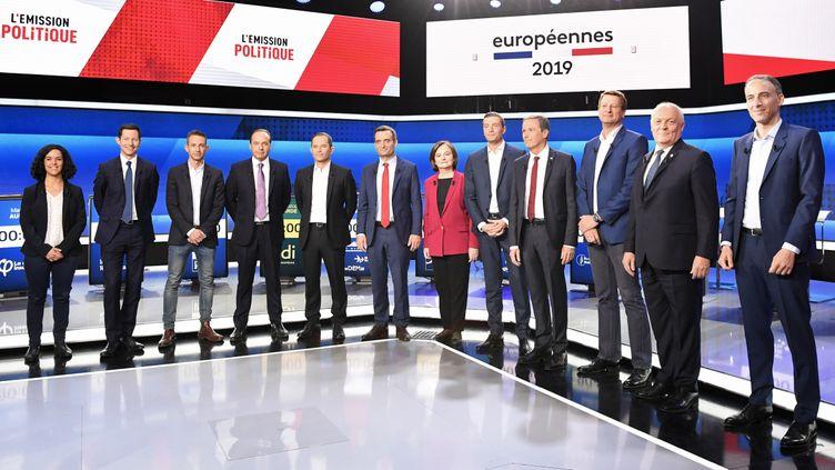 Les principaux candidats aux élections européennes, le 4 avril 2019, lors d'un débat organisé par France 2. (BERTRAND GUAY / AFP)