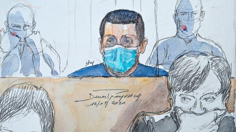 Jonathann Daval dessiné dans son box, au premier jour de son procès pour le meurtre de son épouse Alexia, le 16 novembre 2020. (BENOIT PEYRUCQ / AFP)