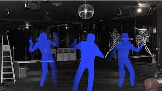 Une des salles désertes du Bobo Club, la discothèque de Stéphane Cholay fermée depuis le 13 mars 2020, à Barbizon, le 17 décembre 2020. (JESSICA KOMGUEN / FRANCEINFO)