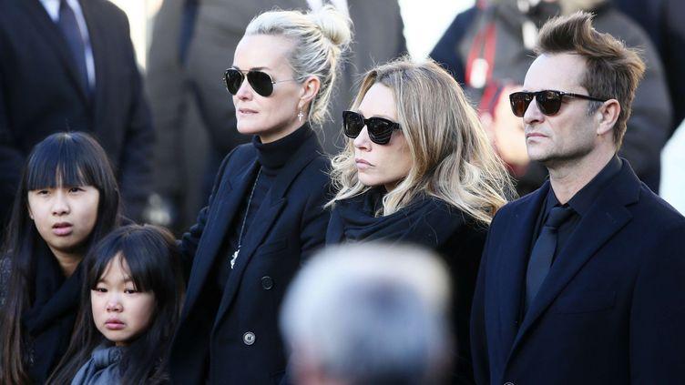 Laetitia Hallyday, Laura Smet, David Hallyday, Jade et Joy aux obsèques de Johnny Hallyday (9/12/2017)  (Francois Mori/AP/SIPA)