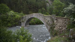 Aussi appelé pont du Moulin, le pont d'Ondres (Alpes-de-Haute-Provence), menace de s'effondrer. Construit à la fin du XVIIème siècle, l'édifice est aujourd'hui impraticable. Le pont est abandonné en 1881, après la construction d'une autre structureplus en amont du Verdon, la rivière enjambée par le pont. (BERTRAND LANGLOIS / AFP)