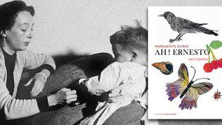 """Marguerite Duras avec son fils Jean et la couverture de """"Ah ! Ernesto"""", illustré par Katie Couprie (Editions Thierry Magnier)  (STF / AFP)"""
