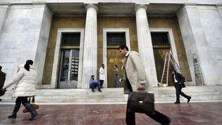 La banque de Grèce, à Athènes, le 7 mars 2012. (LOUISA GOULIAMAKI / AFP)