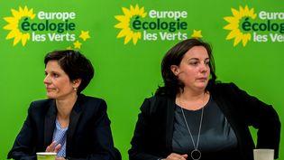 Sandrine Rousseau, candidate d'EELV aux régionales dans le Nord-Pas-de-Calais-Picardie, et Emmanuelle Cosse, secrétaire nationale du parti, le 19 août 2015 àVilleneuve-d'Ascq (Nord). (PHILIPPE HUGUEN / AFP)