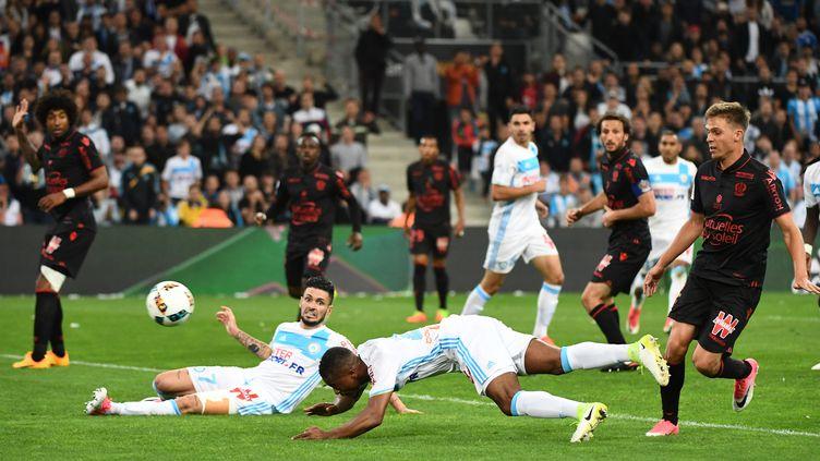 Patrice Evra, buteur contre Nice (BORIS HORVAT / AFP)