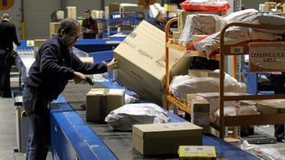 Un salarié de La Poste trie un colis Amazon, le 28 novembre 2013, à Saint-Jean-de-Védas (Hérault). (MAXPPP)