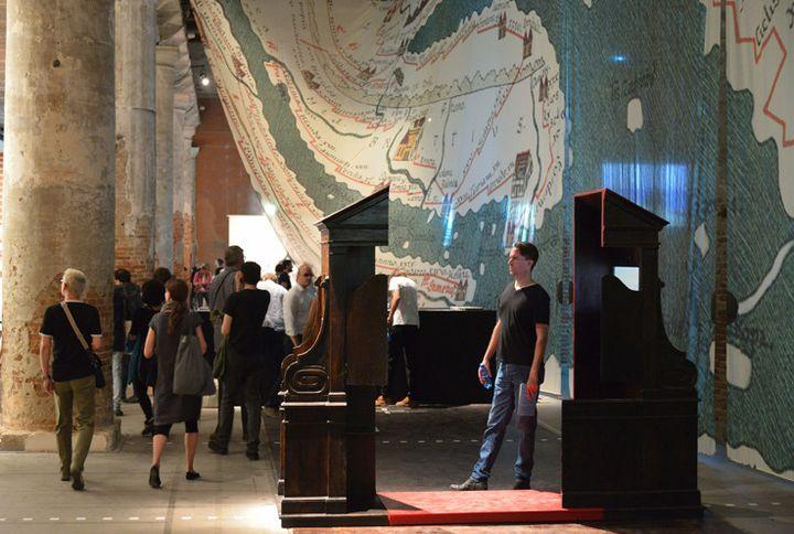 """Le pavillon """"Monditalia"""" à la Biennale de Venise (5 juin 2014)  (Vincenzo Pinto / AFP)"""